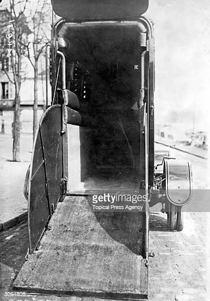 A box car lies open ready to receive a racehorse