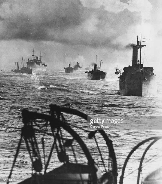 A convoy of British ships comprising 24 merchantmen and colliers in the North Sea during World War II