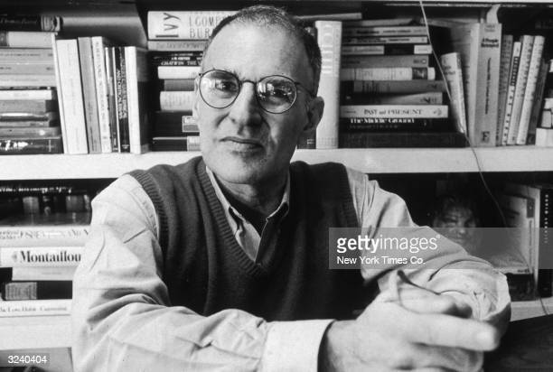 Portrait of American author AIDS campaigner and gay rights activist Larry Kramer founder of ACTUP and the Gay Men's Health Crisis group sitting in...