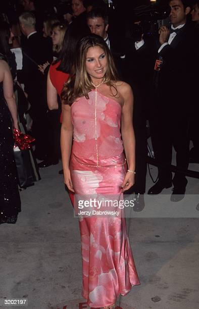 Fulllength image of Cubanborn actor and television host Daisy Fuentes posing in a hot pink gown with a thin diamond chain choker/belt at the 'Vanity...