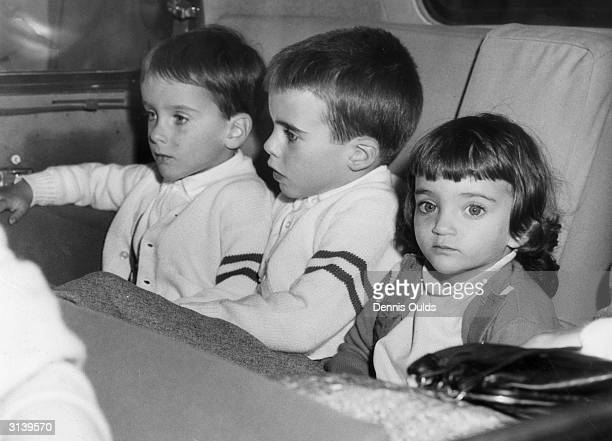 Elizabeth Taylor's three children Michael Christopher and Elizabeth at London Airport after their mother and her latest husband Eddie Fisher had...