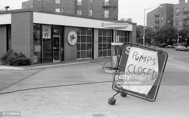 Gas crisis of 1979 A sign in front of the gas pumps at a Mobil station in New York City reads 'pumps closed' due to the decreased oil output in the...