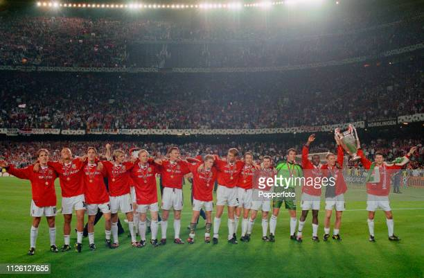 26th MAY 1999 UEFA Champions League Final Barcelona Spain Manchester United 2 v Bayern Munich 1 Manchester United team line up with the European Cup...