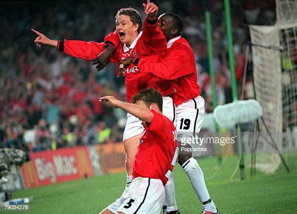 26th MAY 1999 UEFA Champions League Final Barcelona Spain Manchester United 2 v Bayern Munich 1 Manchester United's Ole Gunnar Solkskjaer ecstatic...