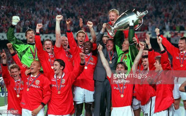 26th MAY 1999 UEFA Champions League Final Barcelona Spain Manchester United 2 v Bayern Munich 1 Manchester United players ecstatic as captain Peter...
