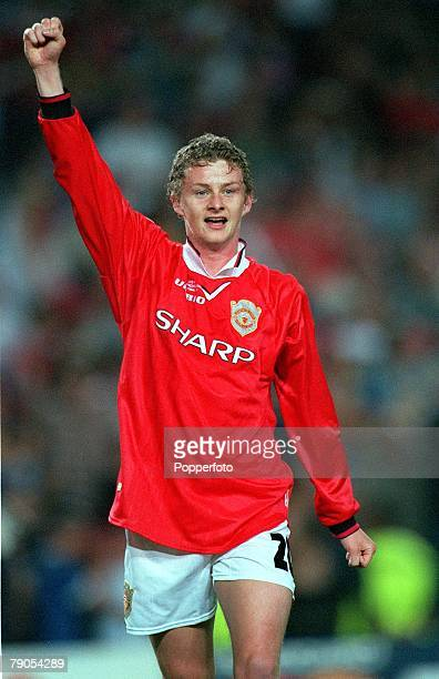 26th MAY 1999 UEFA Champions League Final Barcelona Spain Manchester United 2 v Bayern Munich 1 Manchester United's Ole Gunnar Solskjaer celebrates...