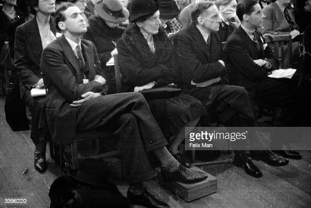 Eminent but attentive Conservative Party officers listen to a lecture at Millicent Fawcett Hall inaugurating the Conservative 'Political University'...