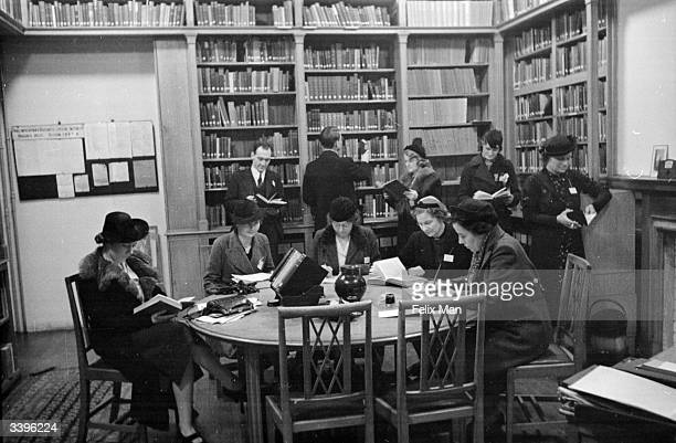 Students in the library attending a 'Political University' organised by the Conservative Party at Millicent Fawcett Hall in Westminster London...