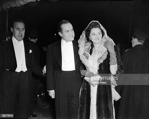 Comedian Bob Hope and his wife Dolores arriving at the Odeon Cinema, Leicester Square, London, for the Royal Command Film Show.