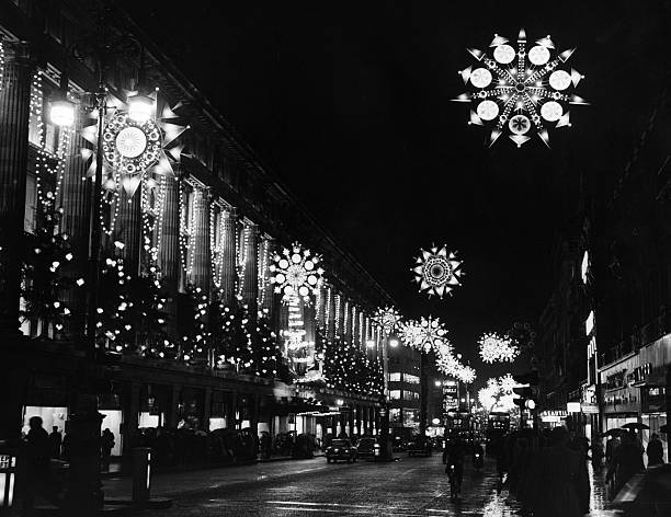 The overhead decorations in Oxford Street, London,...