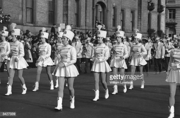A group of majorettes parading in the Thanksgiving Parade near Times Square New York