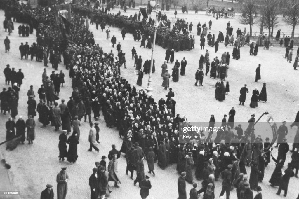 A mass demonstration in Petrograd, formerly St Petersburg, during the October phase of the Russian Revolution.