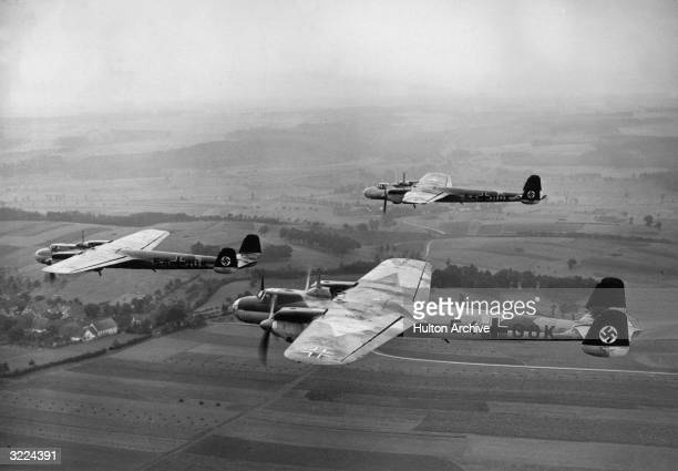 Three German 54 GOK bombers fly over Sudetenland after Germany took control of the region with the signing of the Munich Pact Czechoslovakia