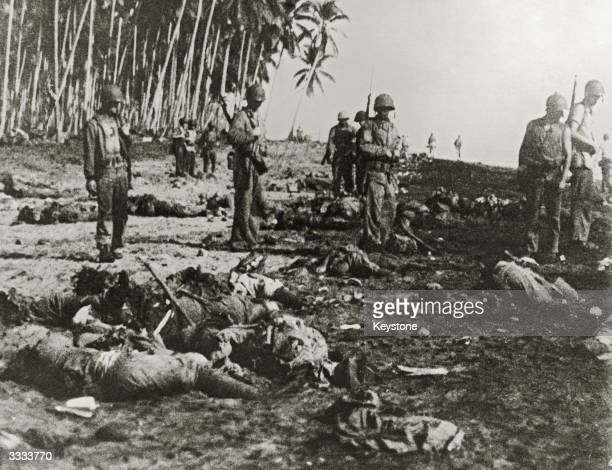 The bodies of Japanese soldiers on the beach at Guadalcanal after a disastrous attempt to land reinforcements