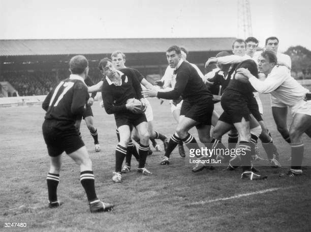 Brian Lochore skipper of the New Zealand All Blacks Rugby Team in action