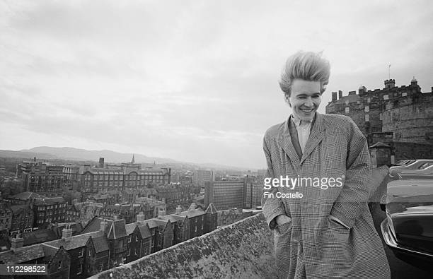 David Sylvian from Japan posed at the Castle in Edinburgh Scotland on 26th October 1982