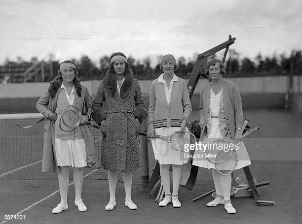 Doubles partners Mrs C C Simon, Ms J Sandison, Ms M Wynne and Mrs I C Winger at the 7th Annual Gleneagles Hotel Lawn Tennis Tournament. Gleneagles...