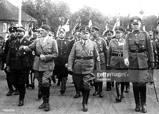26th September 1933 German Chancellor Adolf Hitler with other members of the German Government at the parade of 50000 steel helmets in Hanover...