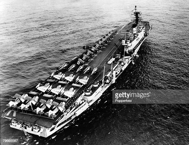 26th September 1961 England Britain's powerful aircraft carrier HMS 'Ark Royal' leaves Devonport after being refitted