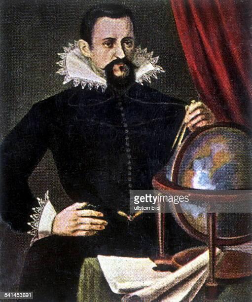 2712157115111630Astronom Mathematiker Dmit Zirkel vor einem Globus Miniatur nach einem zeitgen Gemälde