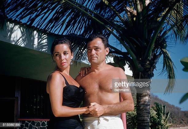 2/7/1957Acapulco Mexico Portrait of Elizabeth Taylor and husband Mike Todd at their honeymoon retreat
