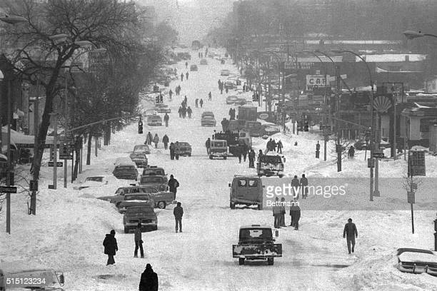 2/7/1978New York New York A carnival of stalled cars stranded pedestrians snow plows and children take over Northern Boulevard in Queens as a blanket...