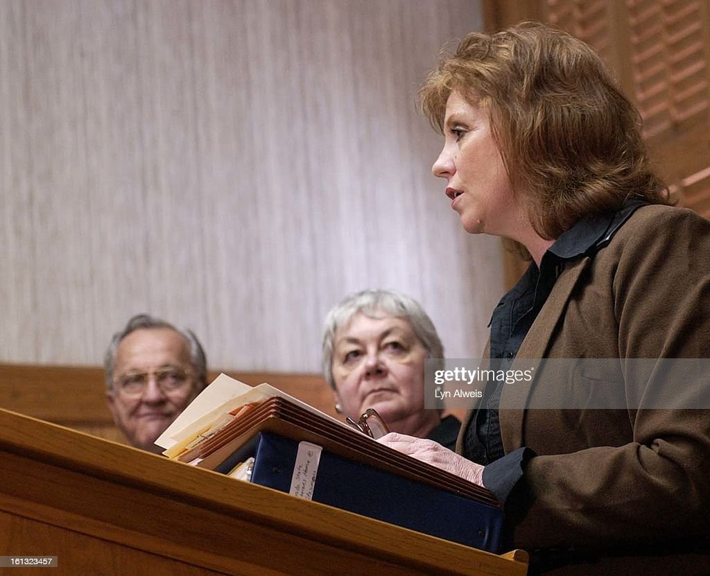 DENVER,CO.-JAN. 27,2004-Democrats and Republicans from the Colorado House including Representative Cheri Jahn <cq> (right) (D-Wheatridge), spoke at a press conference concerning the Fitzsimmons VA (veterans) nursing home and its problems. Her hands are on : News Photo