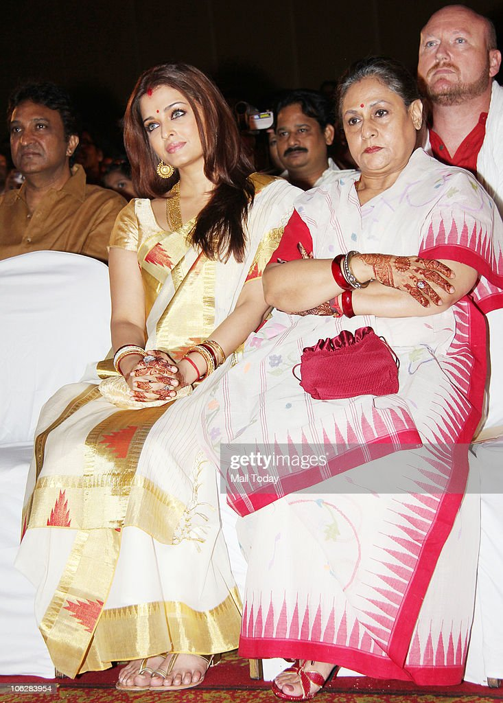 Aishwarya Rai Bachchan and Jaya Bachchan during the music launch of the film `Khelein Hum Jee Jaan Sey` in Mumbai on October 27 2010