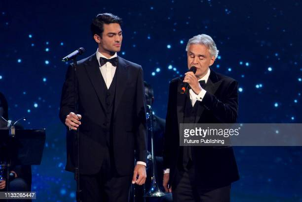 Italian tenor Andrea Bocelli with his son Matteo perform on stage in the occasion of the 64th edition of the David di Donatello Awards in Rome, Italy...