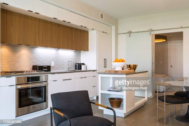 Kitchen and Bedroom in the model condominium at Tribeca on August 27, 2021 in Washington DC.