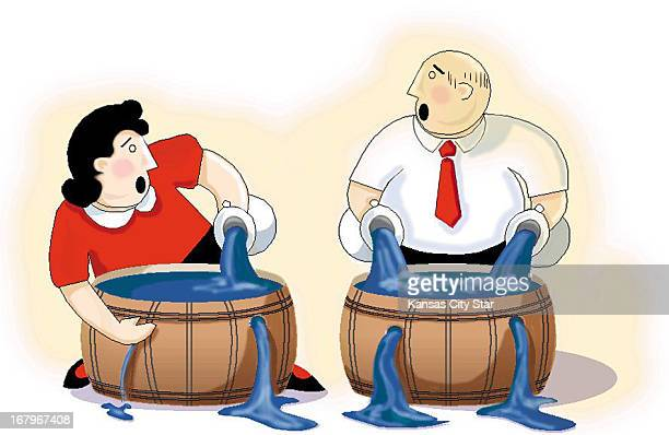 27p x 17p Karen Scott color illustration of woman man trying to plug holes in barrels full of water Can be used with stories about shielding mutual...