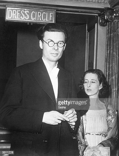 Author Aldous Huxley at the first night of the play 'Wings Over Europe' at the Globe Theatre