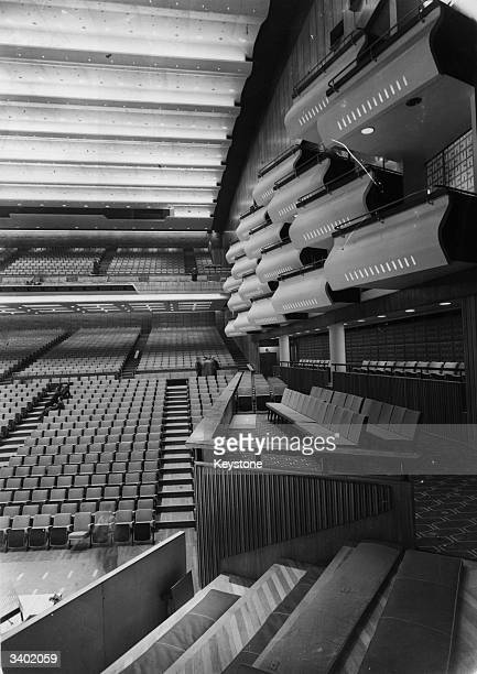 Some of the boxes and the auditorium in the Royal Festival Hall at South Bank Centre London The building was designed by architects Sir Robert...