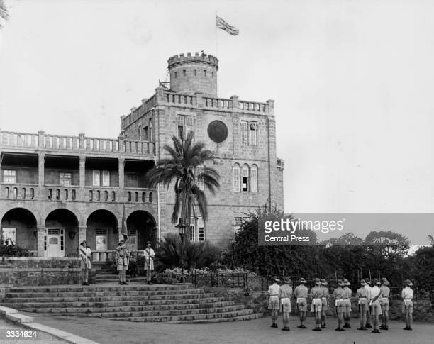 Cadets from St Georges College Rhodesia escorting the 'Colour' on to the steps of the Governor Generals House during a Trooping the Colour ceremony...