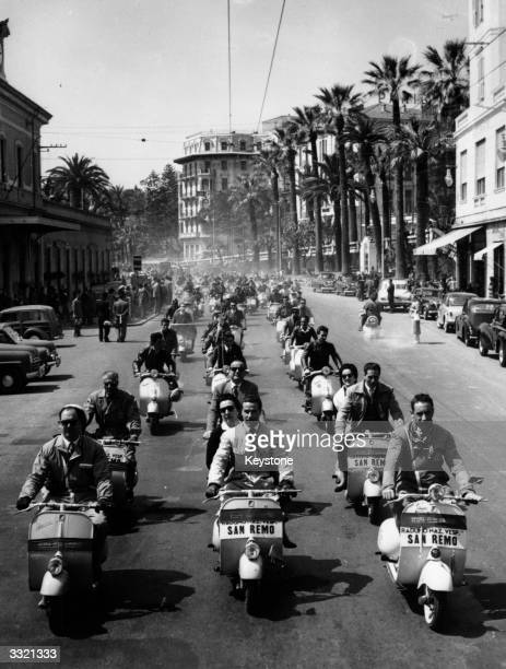 Hundreds of competitors taking part in the international Vespa race at San Remo