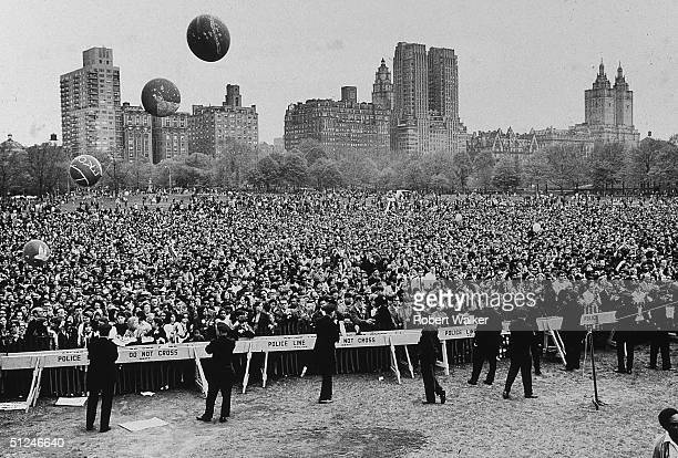 27th April 1968 AntiVietnam War peace rally at Sheep Meadow in Central Park New York City Civil rights advocat Coretta Scott King addressed the crowd