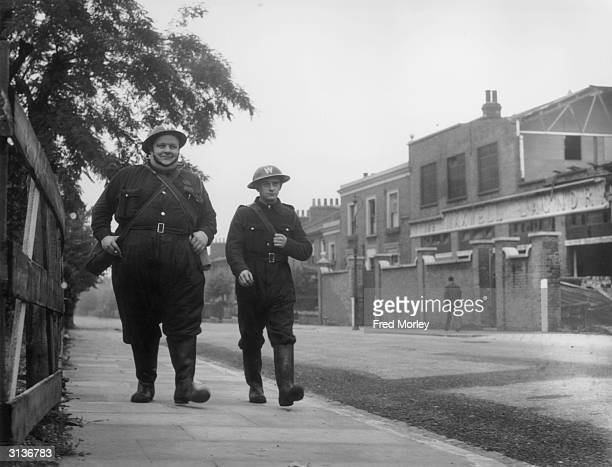 Two ARP wardens Alfred King and Harry Gooden in Peckham London