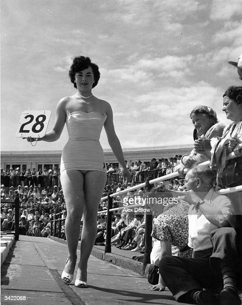 Barbara Smith winner of the Blackpool Bathing Beauties Contest Original Publication Picture Post 7961 The Beauty Business pub 1955