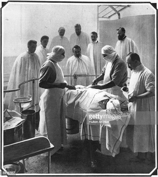 Surgeons at work in a Paris operating theatre illustrating the precautions taken to ensure a sterile environment Original Publication The Graphic pub...