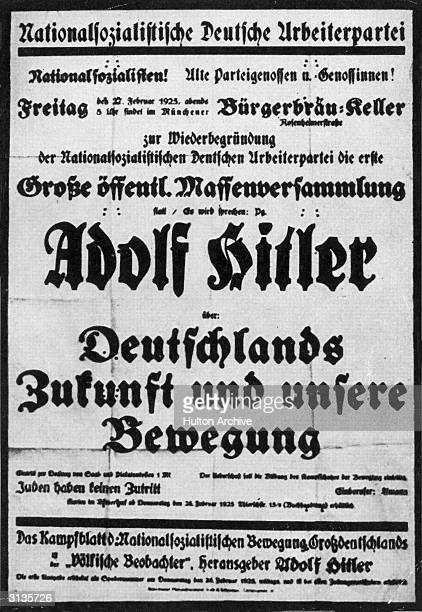 A poster advertising a meeting in Munich where Adolf Hitler will address the party faithful