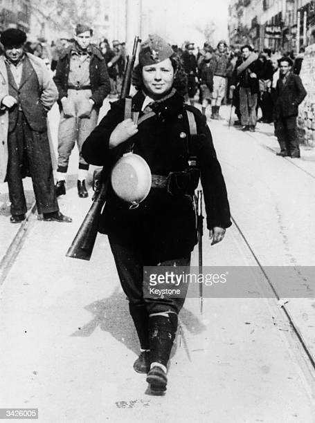A woman from Madrid leaving for the front during the Spanish Civil War