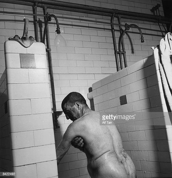 A miner having a shower