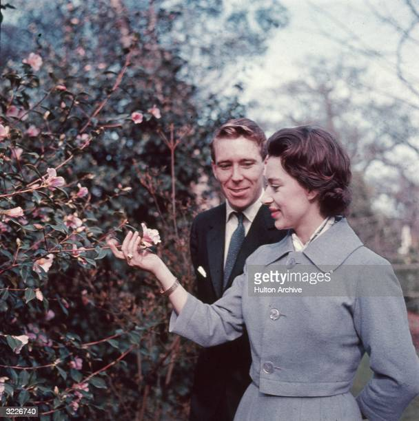 Princess Margaret and Antony ArmstrongJones in the grounds of Royal Lodge on the day they announced their engagement