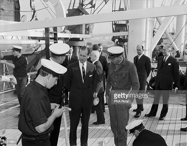 The Duke of Edinburgh on board one of the New Zealand Shipping Company's training ships at the Royal Albert Dock in London