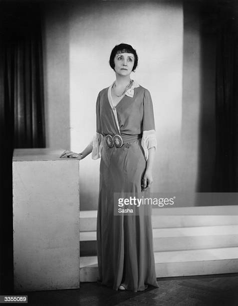 British actress Lilian Braithwaite in the gown that she wears in Ivor Novello's play 'Fresh Fields' at the Criterion Theatre