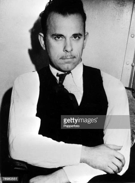 USA 27th January 1934 Portrait of American outlaw John Dillinger pictured after he was captured with three other members of his band by Arizona...