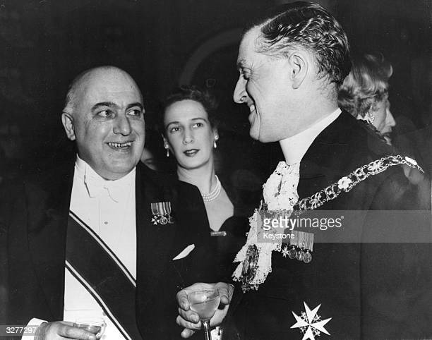 David Patrick Maxwell Fyfe 1st Earl Lord Kilmuir Scottish jurist and Statesman at an Australian Day Dinner at the Savoy in London with the Lord Mayor...