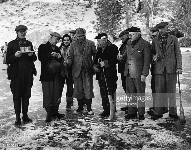 A group of competitors enjoying a hot toddy during the Atholl Province Curling Bonspiel on Polnie Loch near Dunkeld The precise origins of curling...