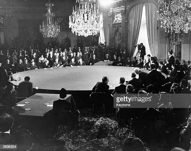 A general view of the scene in Paris at the signing ceremony of the Vietnam Peace Agreement