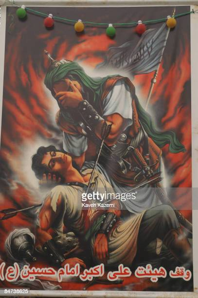 A banner in Tehran depicts the martyrdom of Imam Hussein at the battle of Karbala Hussein was the grandson of Prophet Mohammad and his death is...